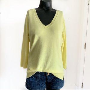 525 America Lemon Yellow V-Neck 3/4 Sleeve Sweater